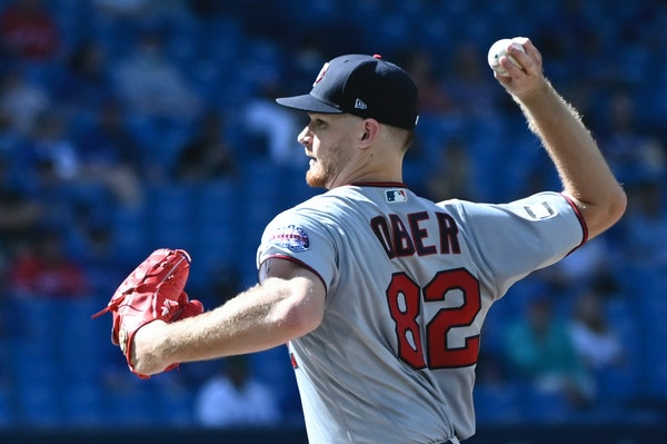 Twins rookie righthander Bailey Ober delivered a pitch against the Blue Jays on Saturday.