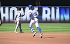 Toronto Blue Jays' Bo Bichette rounds the bases after hitting a two-run home run in the first inning