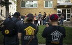 Residents of an apartment building on 21st Ave. S. in Minneapolis who are taking part in a rent strike against their landlord held a news conference o