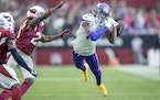Vikings wide receiver Justin Jefferson (18) missed a pass late in the fourth quarter as  Minnesota Vikings took on the Arizona Cardinals.