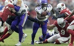 Vikings running back Dalvin Cook ran for yardage in the second quarter.