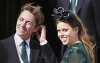 FILE - In this Aug. 31, 2019 file photo, Princess Beatrice and her husband Edoardo Mapelli Mozzi attend the wedding of Ellie Goulding and Caspar Jopli