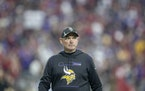 Vikings Head Coach Mike Zimmer made his way off the field after the Minnesota Vikings fell to the Arizona Cardinals 33 to 34 at State Farm Stadium, Su