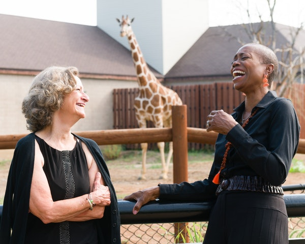 """Sally Wingert, left, and Regina Marie Williams in the premiere of playwright Ken LaZebnik's """"Animate"""" at the Como Zoo."""