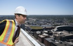 Minneapolis mayor Jacob Frey looked out at the view from the 36th floor of the new RBG Gateway tower in Minneapolis on Friday, September 17, 2021. ] A