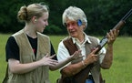 Chandra Twede received trapshooting lessons from her grandmother, Loral I Delaney, in 2003.