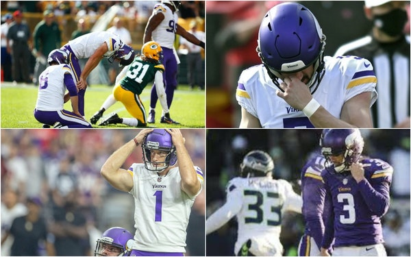 Clockwise from top left: Vikings kickers Daniel Carlson, Dan Bailey, Blair Walsh and Greg Joseph.