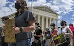 FILE — Supporters of abortion rights protest outside the U.S. Supreme Court in Washington, days after the justices declined to block a near-total ba