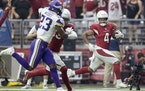 Rondale Moore of the Cardinals scored on a 77-yard touchdown pass late in the second quarter Sunday.