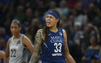 Seimone Augustus during a Minnesota Lynx game in 2018. The former WNBA star is now an assistant  coach with the Los Angeles Sparks.