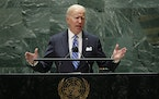 U.S. President Joe Biden speaks during the 76th Session of the United Nations General Assembly at U.N. headquarters in New York on Tuesday, Sept. 21,