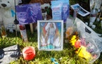 A makeshift memorial dedicated to Gabby Petito is located near City Hall on September 20, 2021 in North Port, Florida.