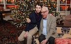 Former Walker Art Center chief curator Dean Swanson with grandson George.