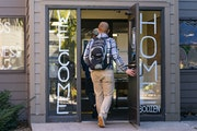 Students entered Bodien Residence Hall at Bethel University in Arden Hills, which saw the largest drop in dormitory residents of any metro city in the