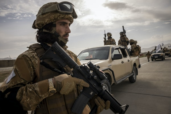 Taliban fighters at the airport in Kabul, Afghanistan, on Sept. 3, 2021, following the withdrawal of U.S. forces after nearly 20 years of military inv