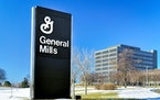 General Mills corporate headquarters and sign in Golden Valley, Minnesota.