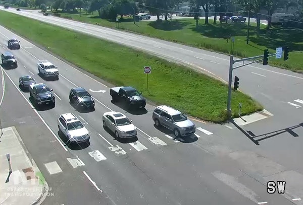 Motorists waited for a traffic light on Hwy. 65 at 105th Avenue in Blaine.