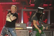 In 2019: Guns N' Roses' Axl Rose, left, and Slash performed at the Austin City Limits Music Festival on Oct. 4, 2019. Tuesday's show was downsiz