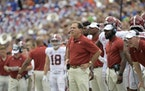Do you think Nick Saban was in a good modd after his Alabana team barely survived with a two-point win over Florida last week? We don't think so, ei