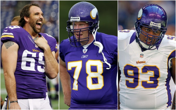 Jared Allen, Matt Birk and Kevin Williams are among the 122 players on the initial list to be considered for induction in the 2022 class of the Pro Fo