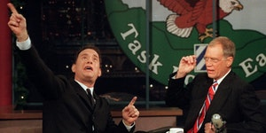 """Tom Hanks, left, was a guest on  """"The Late Show With David Letterman"""" in 2000. The actor also appeared on the set in Letterman's final """"Late S"""