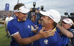 Sergio Garcia, 41 (right) and Ian Poulter, 45 — shown after Europe won the 2018 Ryder Cup at Le Golf National outside Paris — were two of Padraig