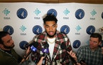 Karl-Anthony Towns appeared at the press conference to introduce Gersson Rosas as president of basketball operations in 2019.