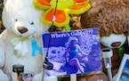 A makeshift memorial for Gabby Petito is displayed at a park across from the North Port City Hall on Sept. 21, in North Port, Fla.