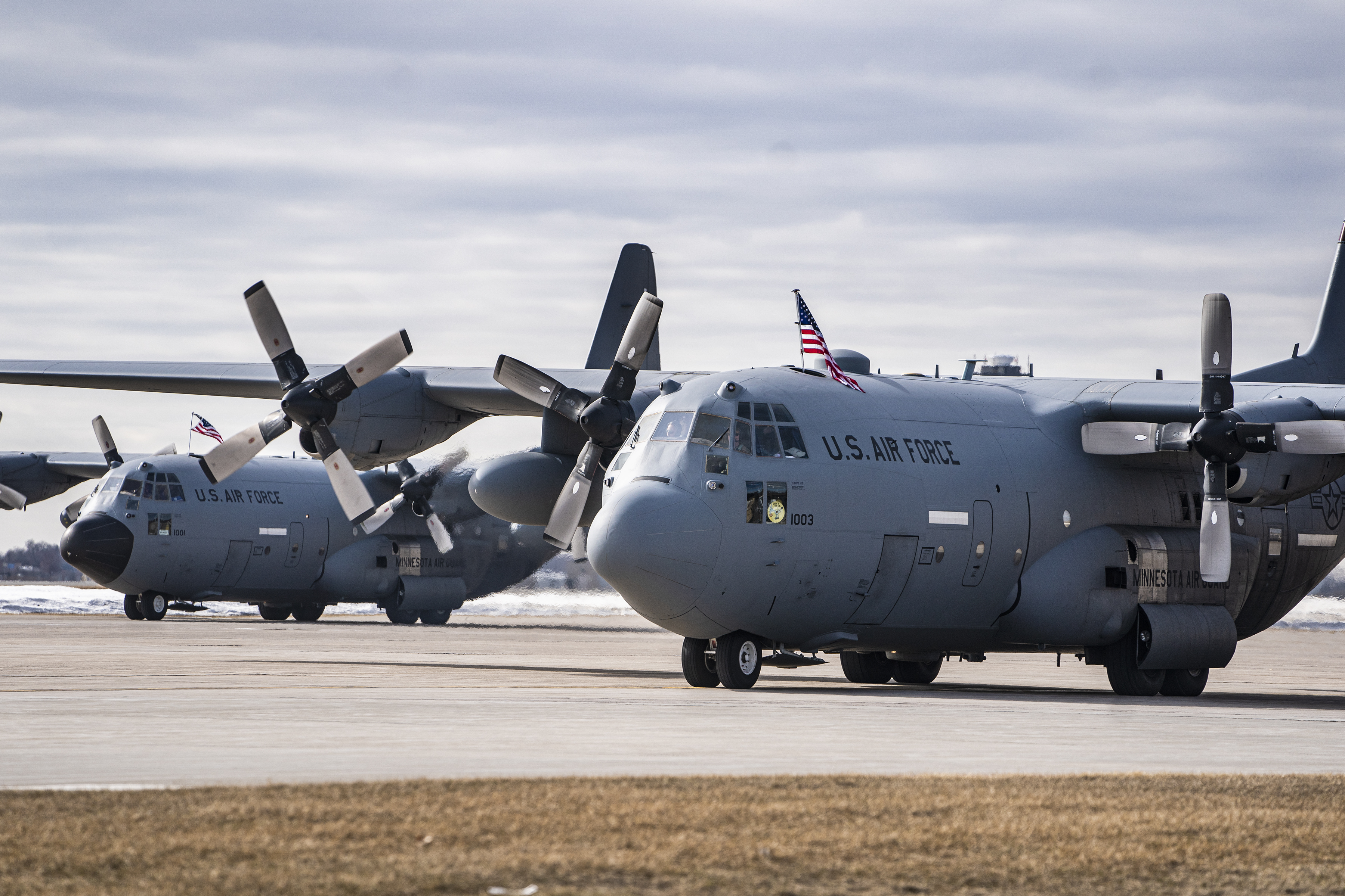 Several C-130 aircraft landed in 2020 after carrying service members back from a deployment in the Middle East.