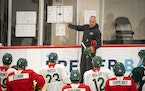 Coach Dean Evason instructed players during the first day of Wild camp Thursday at Tria Rink in St. Paul.