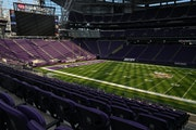 Light streamed in Thursday from the transparent roof over U.S. Bank Stadium ahead of Sunday's home opener against the Seattle Seahawks.