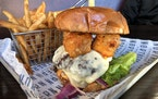 The cheese curd burger at Northern Taphouse.