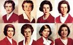 Decades of Betty: Betty Crocker's likeness in (clockwise from top) 1936, 1955, 1965, 1969, 1972, 1980, 1986 and 1996, the most recent portrait.
