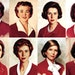 Decades of Betty: Betty Crocker's likeness, starting at the top left in 1936, 1955, 1965, 1969. At the bottom left is 1972, then moving right to 198