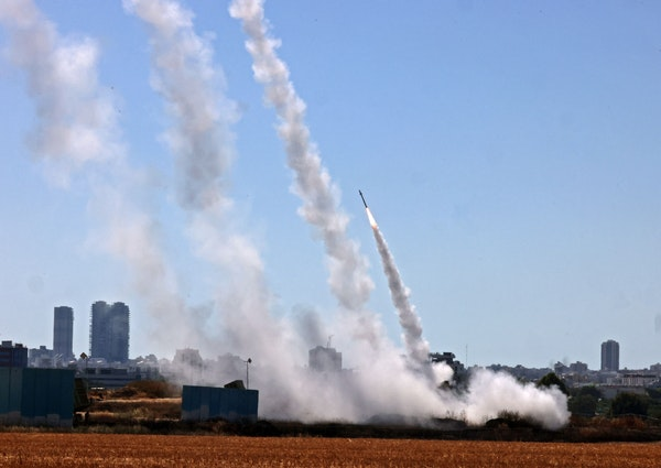 Israel's Iron Dome aerial defense system is activated to intercept a rocket launched from the Gaza Strip, controlled by the Palestinian Hamas moveme