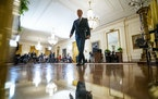 President Joe Biden departs his first formal news conference at the White House on March 25.