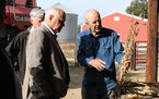 Farmer Gene Smallridge described the drought's impacts on his Hastings farm to Gov. Tim Walz and Agriculture Commissioner Thom Petersen on Friday.