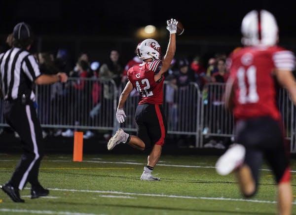 Centennial's running back Lance Liu (42) ran half the field for a touchdown in the fourth quarter bring Centennial ahead 21-7.