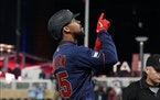 The Twins' Byron Buxton pointed skyward after belting a three-run home run off Blue Jays starter Jose Berrios in the third inning Friday night.