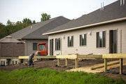 Townhouses under construction in August in Hermantown, Minn.