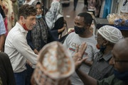 A campaigning Mayor Jacob Frey was greeted by supporters at the Karmel Mall in Minneapolis last Sunday.