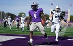 St. Thomas running back Hope Adebayo ran the ball in for a touchdown in the fourth quarter.