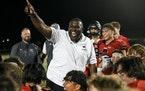 Shakopee coach Ray Betton (shown after a victory over Prior Lake on Sept. 10) and the Sabers are 4-0 after defeating Edina 42-14 on Friday.