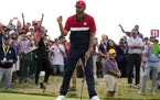 Team USA's Dustin Johnson reacted to his putt on the 15th hole during a Ryder Cup singles match at Whistling Straits on Sunday.