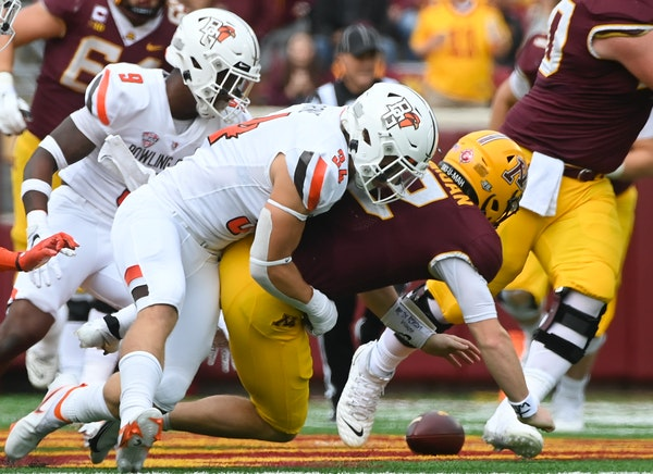 Gophers quarterback Tanner Morgan had a rough game against Bowling Green on Saturday, completing only five of 13 passes for 59 yards, with two interce