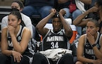 Lynx center Sylvia Fowles (34) and teammates Natalie Achonwa (11) and Layshia Clarendon (7) sat on the bench in the fourth quarter.