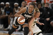 Lynx forward Napheesa Collier got control of the ball after forcing Sky guard Courtney Vandersloot to turn it over in the second quarter Sunday.