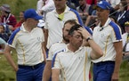 Team Europe's Rory McIlroy reacted after losing to Team USA at the Ryder Cup on Sunday.