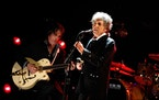 Bob Dylan on stage at the Hollywood Palladium in 2012.