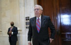 Senate Minority Leader Mitch McConnell, R-Ky., in Congress last week. Senate Republicans on Monday prepared to block a bill that would fund the govern